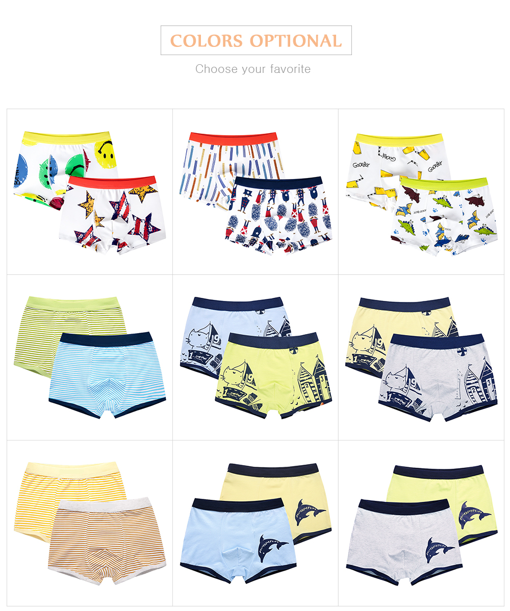 4 Piece Kids Boys Underwear Cartoon Children's Shorts Panties for Baby Boy Boxers Stripes Teenager Underpants 4-14T