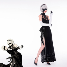 Anime NieR: Automata YoRHa No. 2 Type B 2B Black full dress formal  Cosplay Costume Free Shipping A