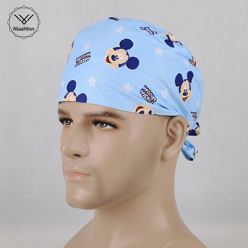 Unisex Medical Surgical Surgery Hat Medical Beauty Cap Doctor Nurses Aseptic Work Medical Clothing Cartoon Print Scrub Cap Mask
