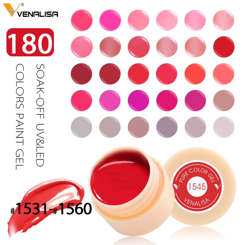 Venalisa  CANNI Nail Art Set Peel Off  180 Colors Gel Painting UV/LED Color Gel CANNI Nail Polish Gel Lacquer Paniting Gel Ink white peel off liquid nail art tape latex tape