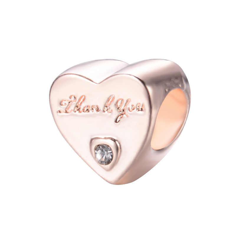 Europejska róża serce spacer najlepszy przyjaciel mama mama tata aluminiowe wisiorki z koralikami Fit Pandora bransoletki i Bangles naszyjnik DIY biżuteria EL050