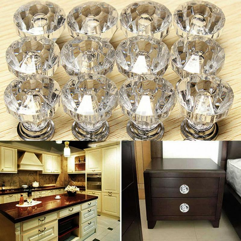 12pcs/bag Acrylic + Zinc Alloy Crystal Glass Door Knobs Drawer Cabinet  Furniture Kitchen Handle