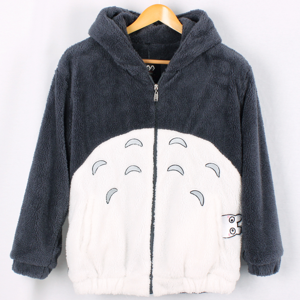 Anime Movie My Neighbor Totoro Thick Hoody My Neighbor Totoro Gray Hoody Coat Girls Cute Sweatshirt in Gray