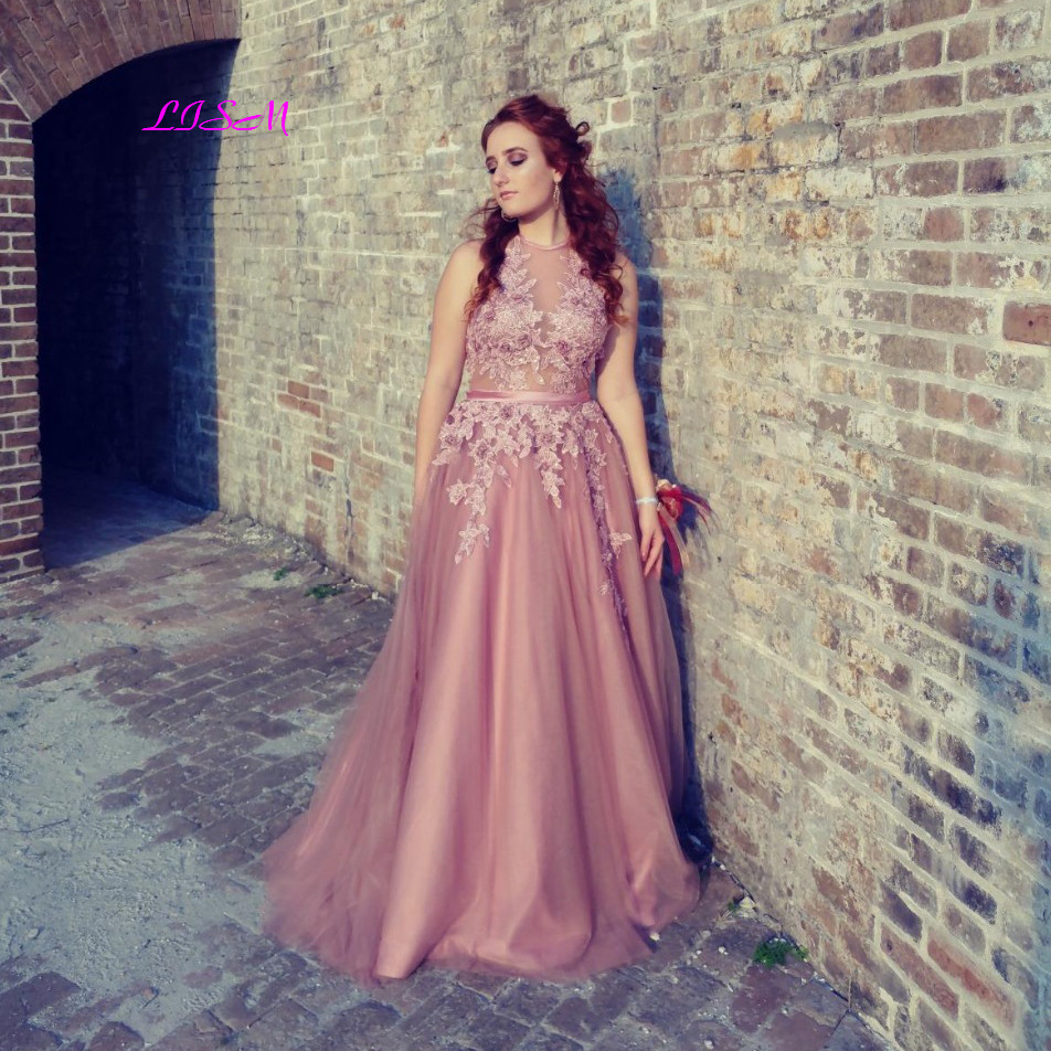 Halter Lace Appliqued Tulle Prom Dresses Long Sexy Backless Formal Gowns Elegant A-Line Empire Evening Dresses vestidos de festa