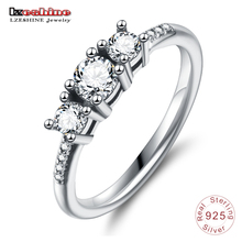 LZESHINE Elegant 100% 925 Sterling Silver Heart Of Gold Puzzle Rings Stack For Women Wedding Rings Set Jewelry(China)