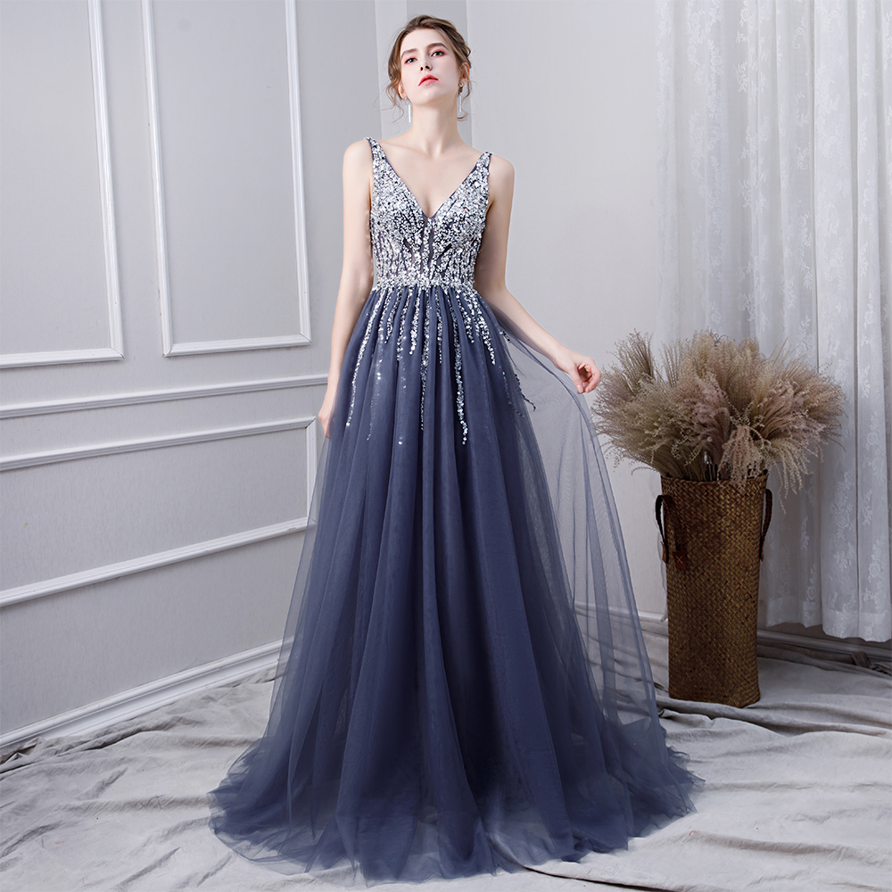 cfb8c19b6ab8 2018 New V neck Grey Sparkly Vestido de Festa Open Back Evening Gowns 2017  Elegant Sexy See Through Prom Dress Real Photo