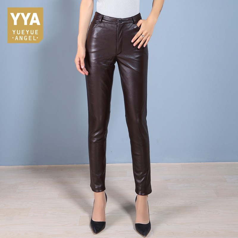 Элегантные женские офисные узкие Высокая Талия Натуральная кожаные штаны Для женщин брюки Slim Fit полной длины карандаш брюки плюс Размеры 4XL