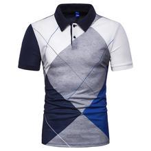 Men Polo Shirt Fashion Short sleeve Lapel Plaid print sleeves Elasticity Summer Tops Tees Fitness