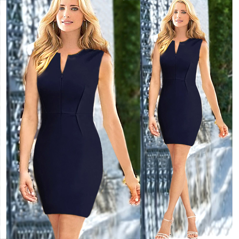 Women Clothes Home New Arrival 2016 Summer O Neck With Zipper Solid Sleeveless Wear To Work Sexy Slim Sheath Summer Office Dress Free Shipping
