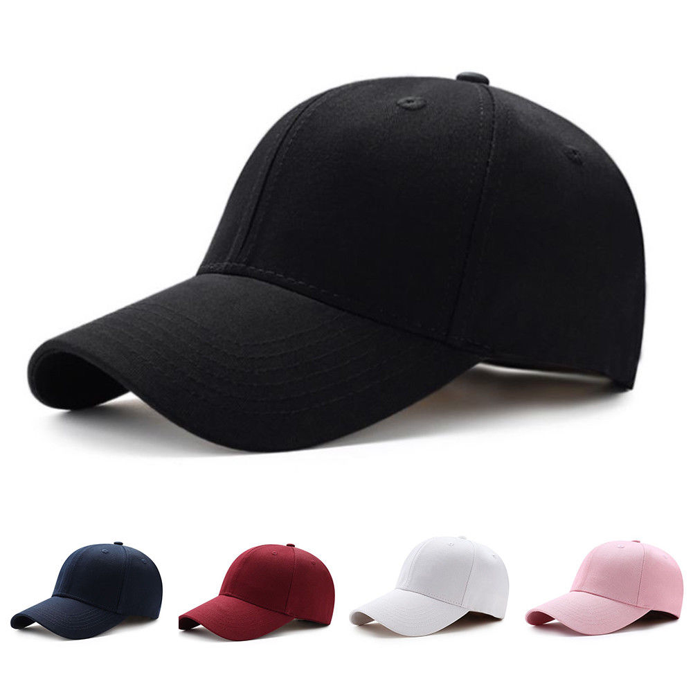 Men Women Plain Curved Sun Visor Baseball Cap Hat Solid Color Fashion Adjustable Caps