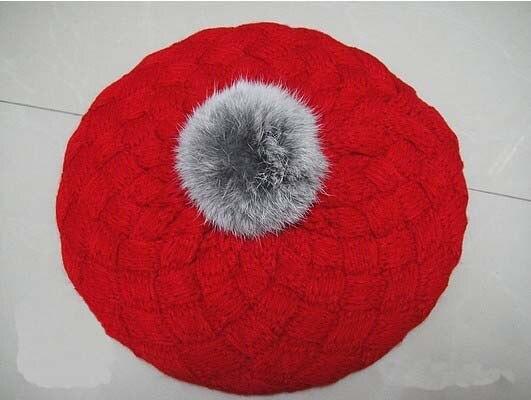 2013 Новые детские вязаные шапки с яблоком модная теплая шапка на осень и зиму Детские разноцветные - Цвет: Красный