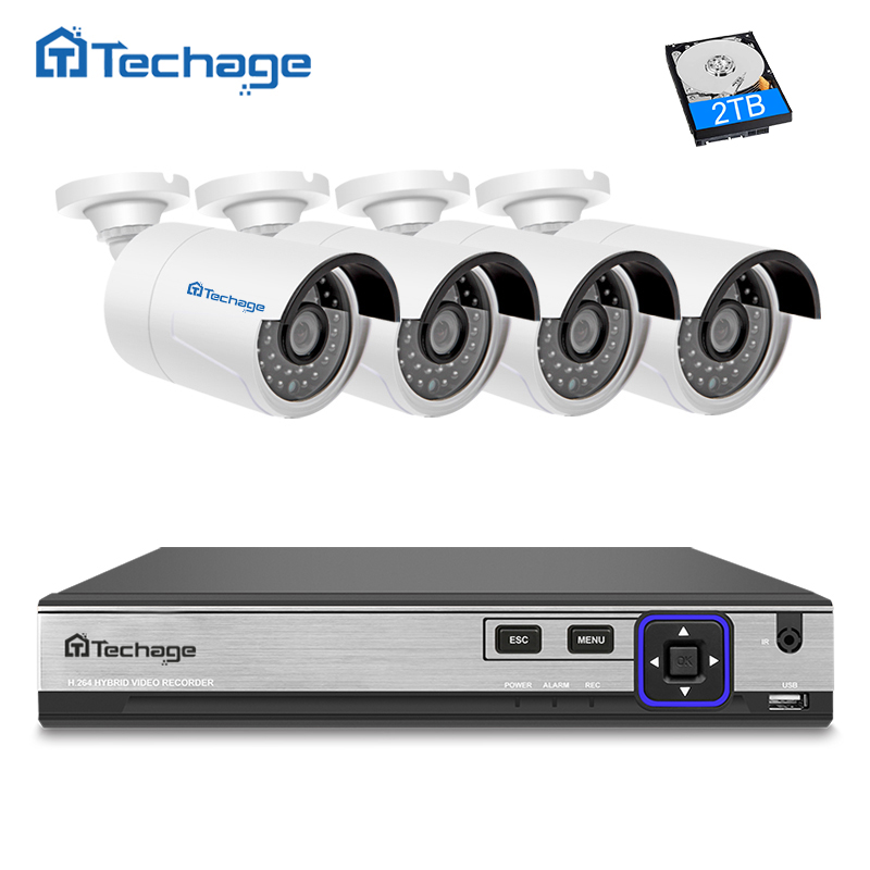 Techage H.265 4CH POE NVR Kit Security Camera CCTV System 4PCS 4.0MP Outdoor IP Camera P2P IR Night Vision Surveillance APP View techege h 265 security surveillance kits 8ch 4k 48v poe nvr 4mp 2 8 12mm zoom lens ip camera poe system p2p cloud cctv system