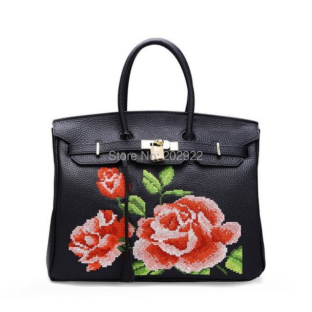 44d80f0f79f25 New Vintage Cross Stitch Designer Brand Floral Rose Real Genuine Leather  Handbags Handmade Flower Women Bags