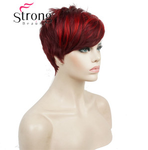 Image 3 - StrongBeauty Short Side Bang Red Asymetrical Straight  Wig Full Synthetic Wigs COLOUR CHOICES