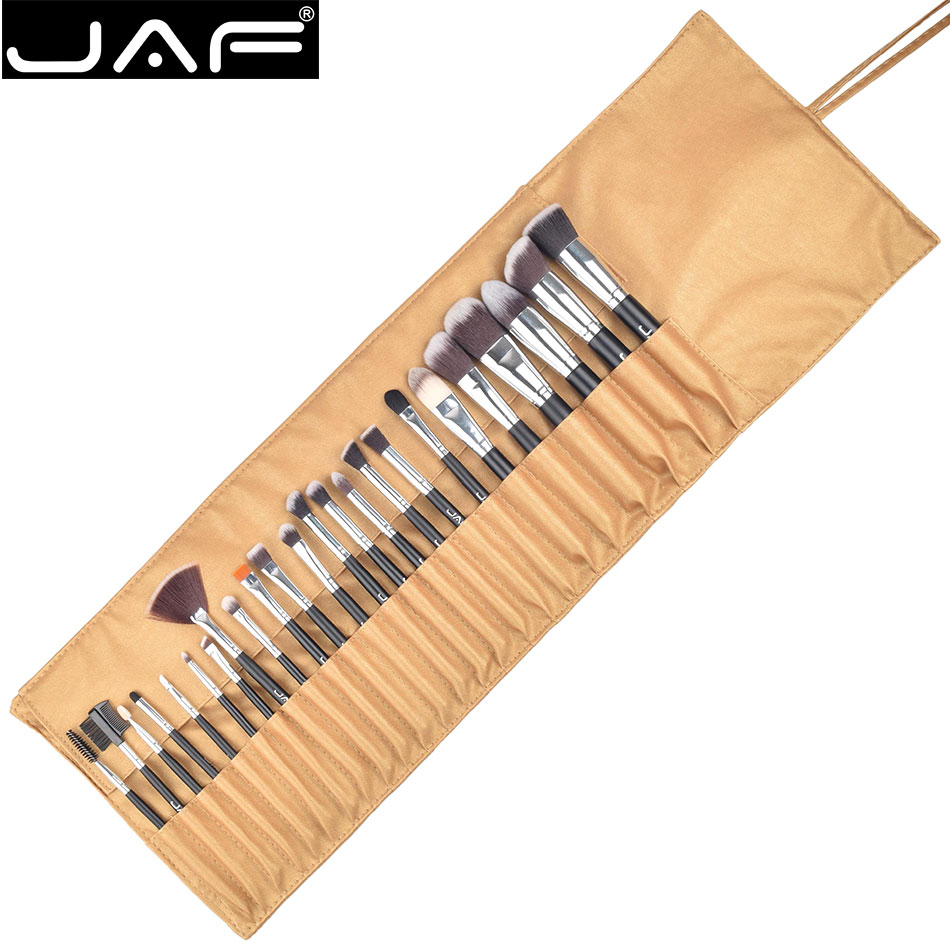 JAF 24pcs Synthetic Soft Taklon Makeup Brush set High Quality Make Up Brushes Professional Cosmetic Kit in Leather Pouch J2404YC professional bullet style cosmetic make up foundation soft brush golden white
