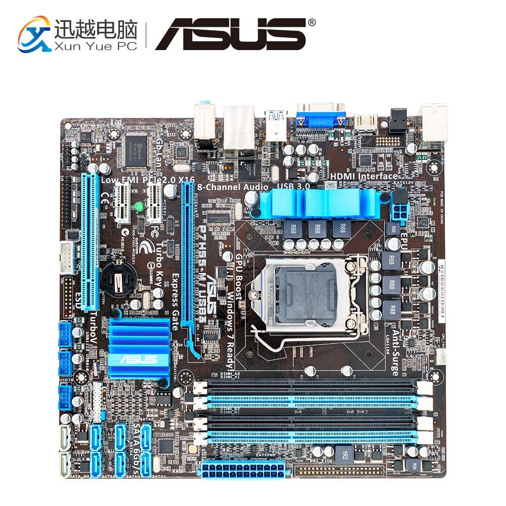 Asus P7H55-M/USB3 Desktop Motherboard P7H55-M USB3 H55 Socket LGA 1156 i3 i5 i7 DDR3 16G VGA DVI HDMI uATX