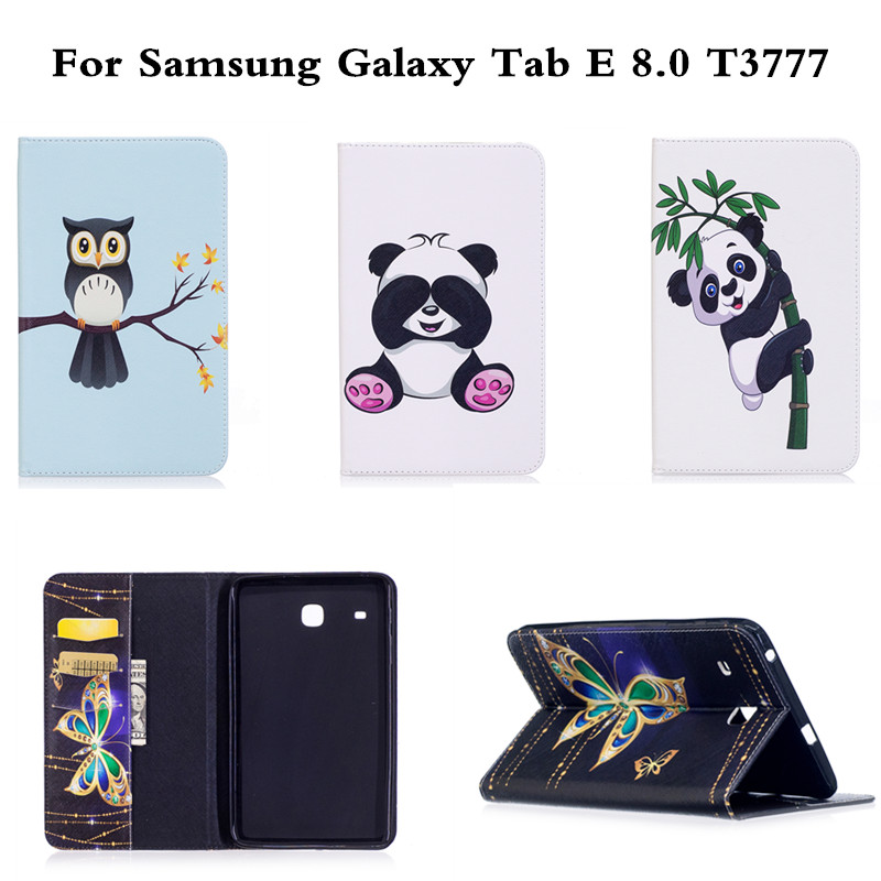 Fashion PU Leather With Soft TPU Back Cute Print Flip Cases book Cover For Samsung Galaxy Tab E 8.0 inch T3777 T375 T377 Case