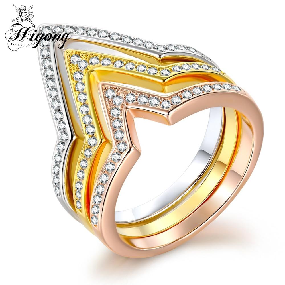 HIYONG Trendy Personalisierte Draht Offenes Dreieck Ring Sets Dünne ...