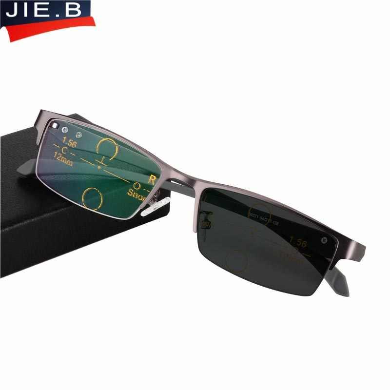 a622b01c3ed Progressive Multifocal glasses Photochromic reading glasses Flexible  Temples Legs Half Frame Male Presbyopia Half Frame Glasses