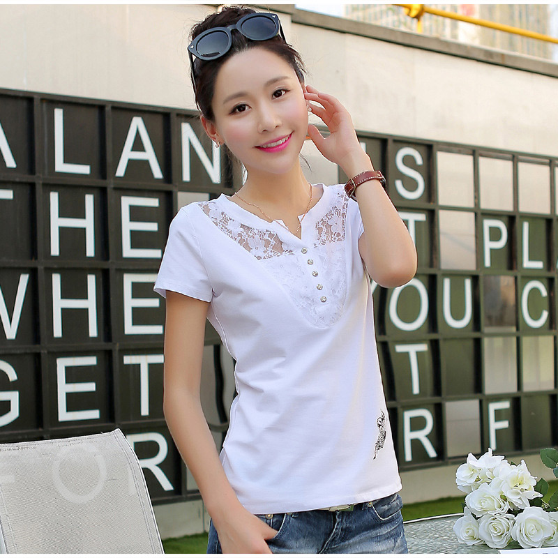 Women's Short Sleeve Lace Patchwork T-Shirt Print Office Lady Casual Women T-Shirts Plus Size 3XL 2019 Summer Tees Tops Female 9