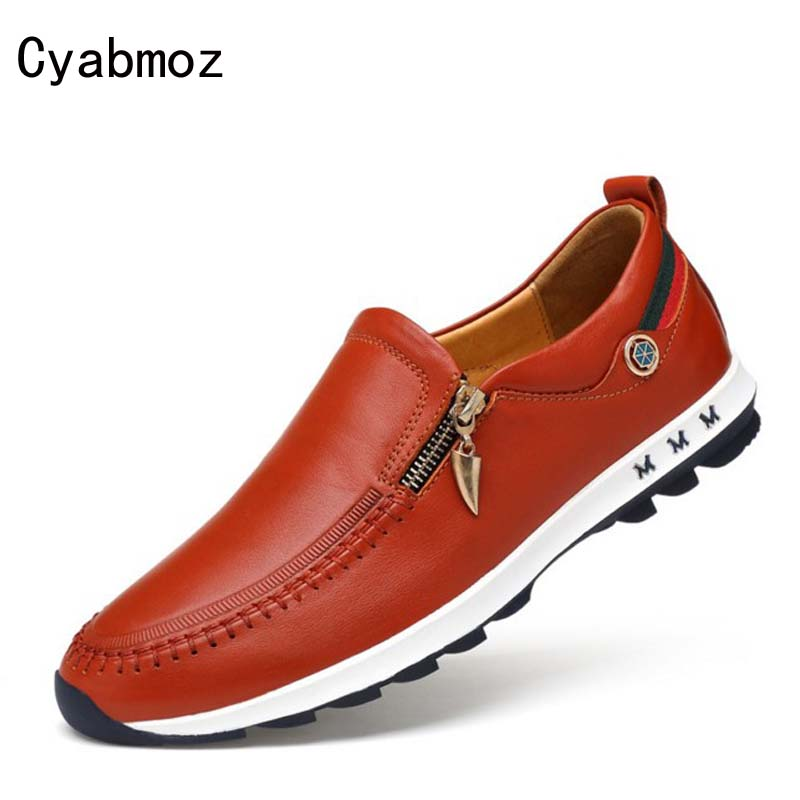 Cyabmoz Mens Casual Shoes Top Fashion Genuine Leather Men Loafers Moccasins Zipper Slip on Men's Flats Male Shoes zapatos hombre club genuine leather casual shoes men high quality breathable fashion loafers slip on soft moccasins male loafers flats men shoe