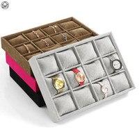 LW 12 Grids/pcs Roupa Caixa de Jóias de Veludo De Exibição De Jóias Bandeja Travesseiro Relógio Pulseira Bandeja de Exibição Prateleira de Exposição Organizador com