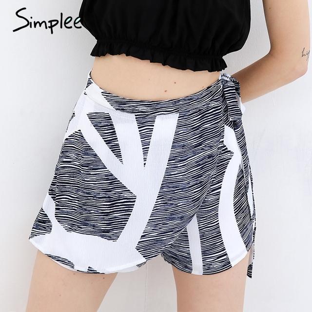 Simplee Asymmetrical geometric print women summer shorts High waist sashes fashion shorts Summer beach casual hot shorts 2017