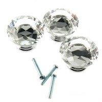 FSLH 10Pcs 40mm Crystal Glass Diamond Shape Cabinet Knob Drawer
