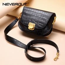 NEVEROUT Retro Saddle Bags Genuine Leather Shoulder/Crossbody/Messenger Bags for Women Real Leather Bag With Wide Shoulder Strap mansur gavriel saddle bag women genuine leather shoulder bag brand crossbody bag for women messenger bags real leather with logo
