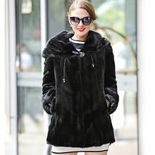 Fashion Genuine Mink Fur Coat for Women Winter Luxury Real Fur with Hood Solid Coats Female Jacket Overcoat Mink Black Coat