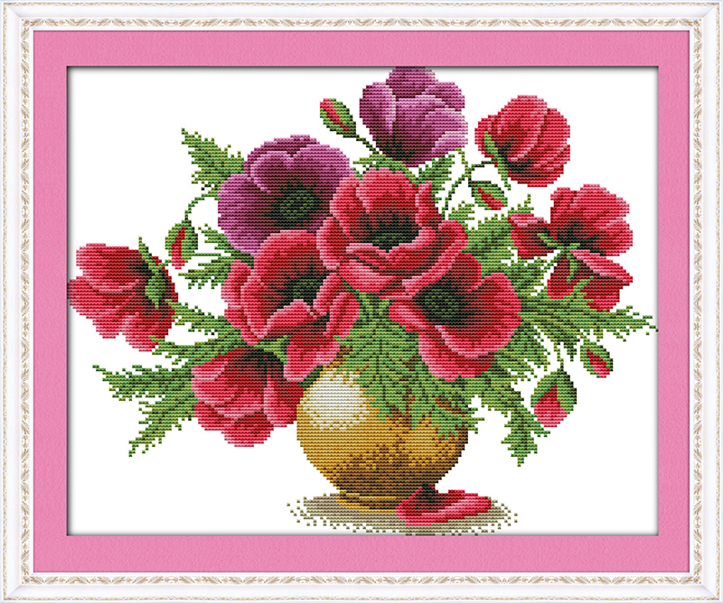 Popínavé květiny váza Počítaný kříž Stitch 11CT Tištěné 14CT Cross Stitch DIY Čínské bavlněné křížové stehové vyšívání Vyšívání Vyšívání
