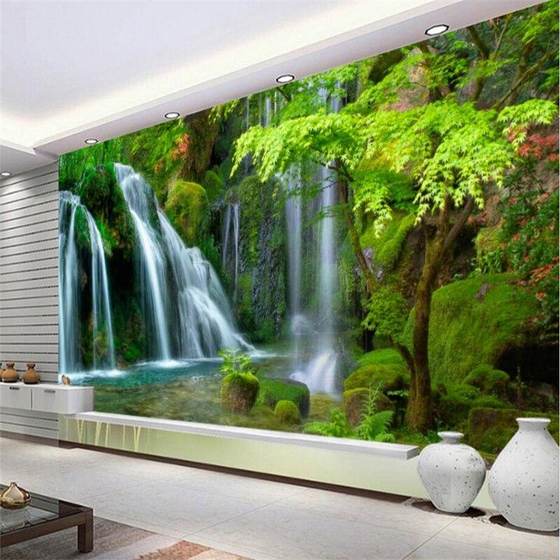 Beibehang Custom Wallpaper Home Decorative Fresco Waterfalls Water Landscape Landscape TV Wall Background mural 3d wallpaper in Wallpapers from Home Improvement