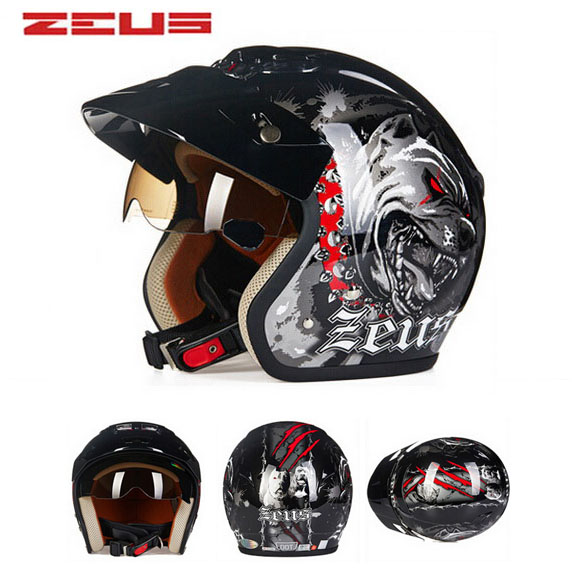 safety electric brand DOT ZEUS ZS-381c DOG 3/4 open face motorcycle helmet with Lining unpick and wash, motorbike helmets 2017 new yohe full face motorcycle helmet yh 970 double lens motorbike helmets made of abs and pc lens with speed color 4 size