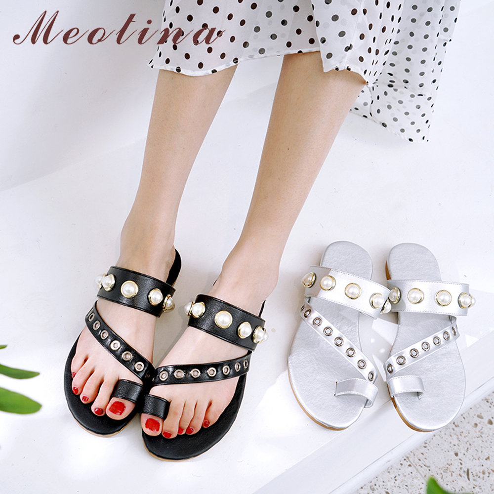 Womens Ladies Pearl Wedges Flip Flops Sandals Slippers Peep Toe Casual Shoes