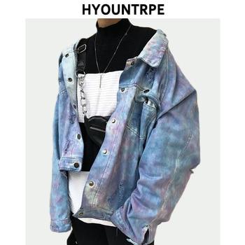 High Street Destroyed Washed Jean Jackets Coat Men Casual Single Breasted Denim Streetwear New Fashion Hip Hop Outerwear Jacket