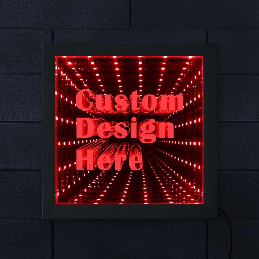 Imagem personalizada logotipo texto led infinito espelho quadro de madeira personalizado quadro de imagem led fresco infinito túnel lâmpada sinal de néon