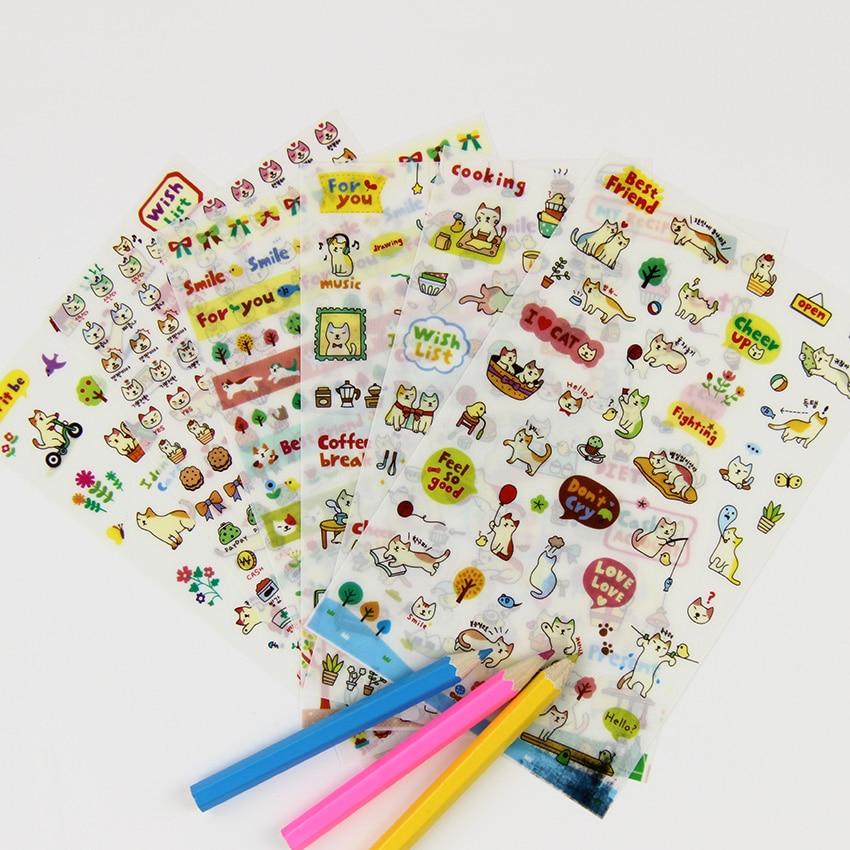 2 Bag/12 pcs New Cute Lovely Cat Paper Stickers for Diary Scrapbook Book Wall Decor DIY Cartoon