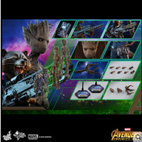 Hottoys 12' Tree Baby Youth Action Figure Marvel Doll Grunt Guardians of The Galaxy Model Toy Groot Toy For Kids Set In Stock