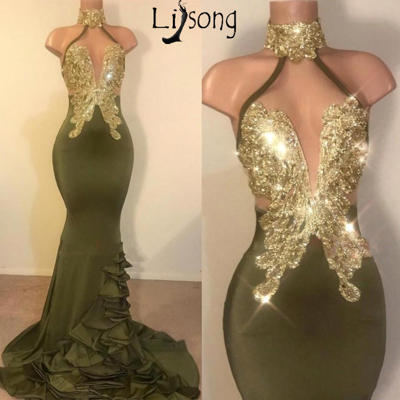 Sexy Mermaid Olive Green Prom Dresses Halter Neck Gold Appliques Backless Stretchy Satin Long Evening Gowns Vestidos Custom Made