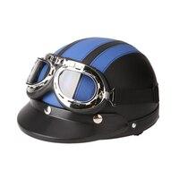 Leather Motorcycle Goggles Vintage Garman Style Half Helmets Motorcycle Biker Cruiser Scooter Touring Helmet