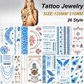 Nueva Metalic Tatuajes Temporales Tatuajes Flash Eróticos Henna Tatouage Del Metal de Bling de Oro Pintura de Cuerpo Pegatinas