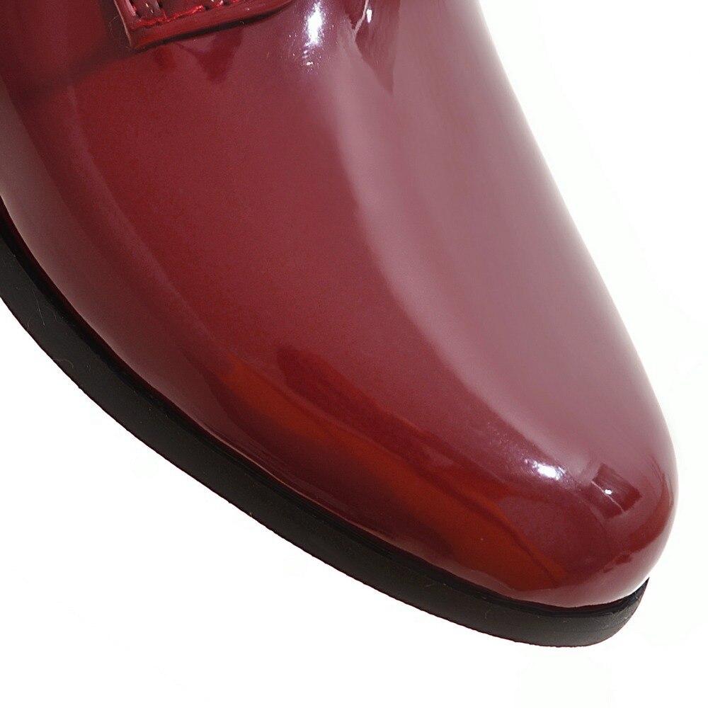 Derbies 34 Silvery Printemps En Rétro Cuir Femmes Chaussures Style black Mode Oxford Plus De 2019 Taille Britannique Bout Rond 50 red Verni La automne IWEYD2H9