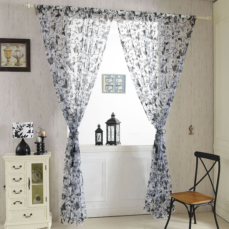Home Curtains Window Room Butterfly Voile Door Curtains Panel Divider Sheer Curtains 0.95cm*2M Home Hanging Decor