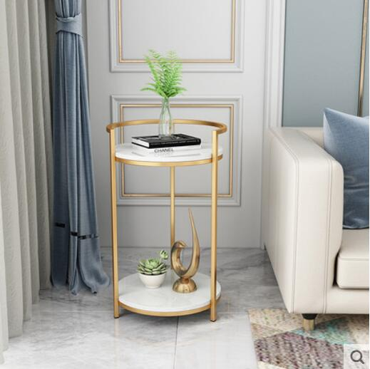 Nordic luxury marble side living room small tea table simple modern sofa  side table corner creative shelves