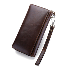 New Arrivals Luxurious 100% Cowhide Leather Long Retro Men Wallet 2018 Brand Large Capacity Card Wallet Vintage Zipper Purse