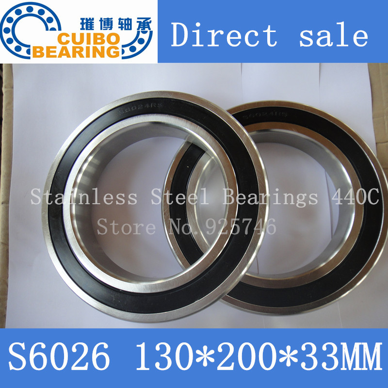 S6026 2RS Stainless Steel Bearing 130x200x33 Miniature 6026 RS Ball Bearings S6026 free shipping 1pcs s6014 2rs stainless steel bearing 70x110 x20 miniature 6014 rs ball bearings s6014