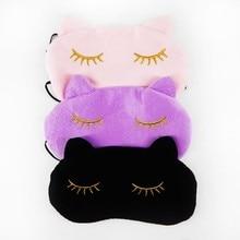 Eye Cover Cute Cat Sleeping Eye Mask Nap Cartoon Eye Shade Sleep Mask Black Mask Bandage on Eyes for Sleeping