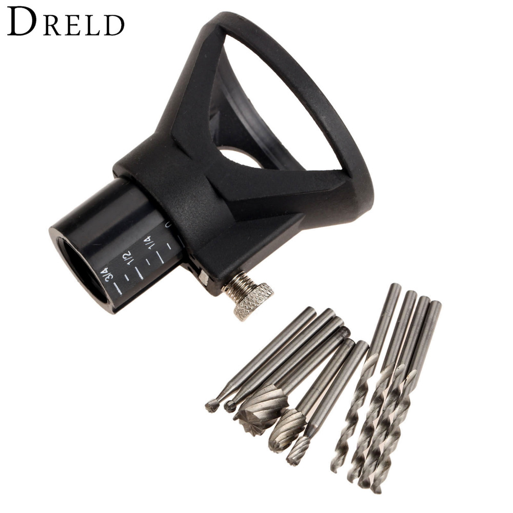 6Pcs Dremel Accessories HSS Wood Tools Milling Burrs +Drill Carving Drill Dedicated Locator Set +4Pc Drill Bit for Rotary Tools
