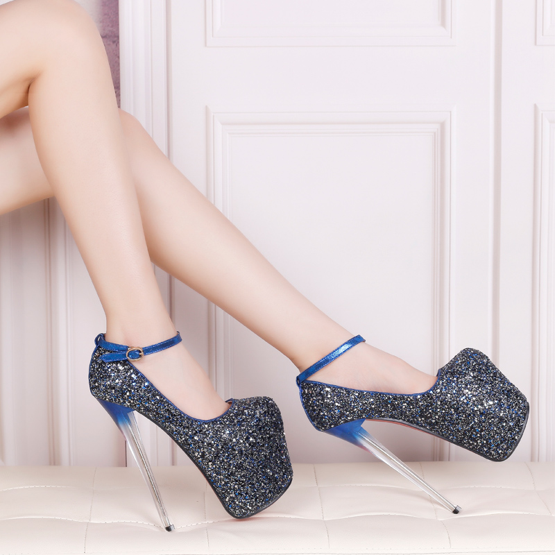 ФОТО Spring new ultra fine with 20cm Sequin Shoes Department of octopus mouth shallow mouth nightclubs shoes
