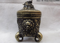 Elegant old S0581 Folk Classic Bronze Copper Elephant legged Dragon Buddhism Censer incense burner statue